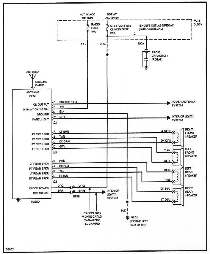 4_speaker_stereo wiring diagrams 1998 Oldsmobile Wiring Diagram at edmiracle.co