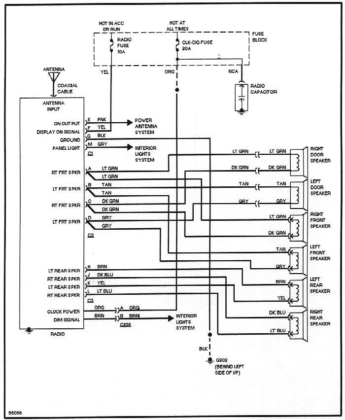 6_speaker_stereo buick stereo wiring diagram buick wiring diagrams instruction 1998 buick century radio wiring diagram at readyjetset.co
