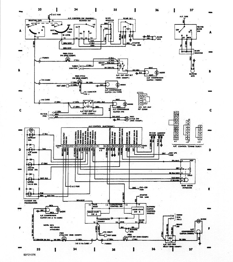 wiring diagrams shows wiring and pinout of dash controller for both manual and auto a c does not seem to show delay relay but pretty comprehensive still