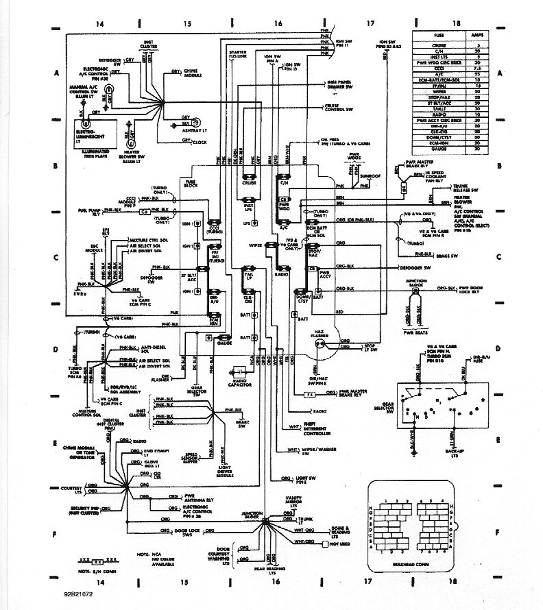 wiring diagrams 1983 buick riviera engine twin turbo shows bulkhead (place all the wires go through the firewall, below the wiper motor) pinout, and fusebox includes fuse number, amperage, and buss locations
