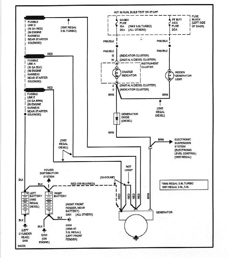 wiring diagrams custom buick grand national charging circuit, turbo and non turbo diagram of the regal